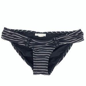 Robin Piccone Black White Stripe Bikini Bottom